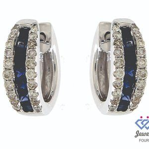 Blue Sapphire Diamond Huggies  Earrings White Gold